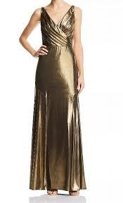 Details About Aidan By Aidan Mattox Womens Dress Gold Size 6 Gown Metallic Surplice 220 477
