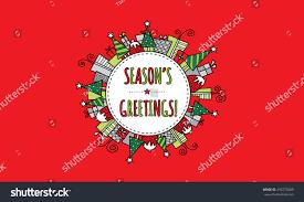 Seasons Greetings Modern Bright Christmas Doodle Stock Vector