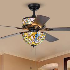 stained glass ceiling fan. Tiffany Style Stained Glass 52in Ceiling Fan With 5 Blades Top And Regarding Fans Remodel 6