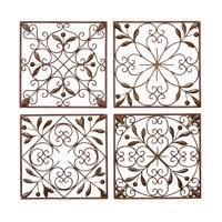 decmode rustic bronze scrolled metal wall decor set of 4 on metal wall decor cheap with metal wall art walmart