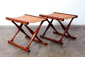 leather folding stool pair of teak and leather folding stools by stool leather folding camp chair