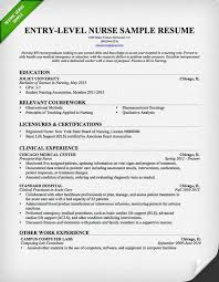 Sample Entry Level Nurse Resume