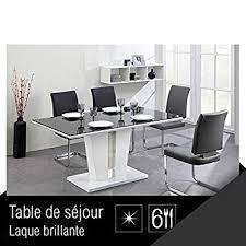 Trevise Table A Manger 6 Personnes 150x90 Cm Noir Et Blanc Amazon