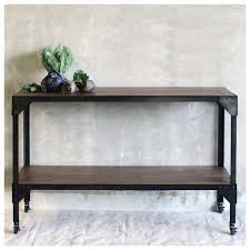 black console table with storage. Black Metal Frame Rectangle Console Table With Solid Wood Storage Made From Reclaimed Wheels Ideas T