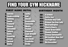 Funny Name Charts Gym Nicknames Funny Gym Nicknames