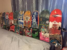 Home made broken skateboard headboard