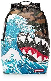 <b>Sprayground</b> Faux-Leather Camo & Wave Print Shark Backpack