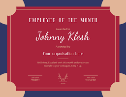 employee of month employee of the month landscape certificate template