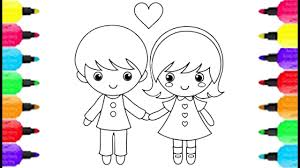 Little Boy And Girl Coloring Pages How To Draw And Coloring Pages