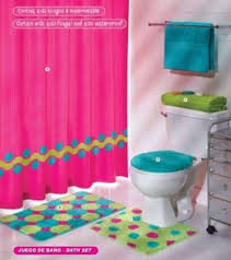 Beautiful Bathroom Decor Set The U201cPink Green Aqua Blue Circles Colorful Bathroom Sets