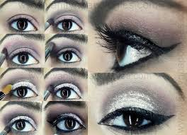 dramatic smokey silver grey glitter eye makeup tutorial step by step
