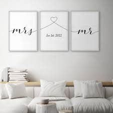 Mrs Mr Liebe Zitate Poster Minimal Wand Kunst Leinwand Druck Paar