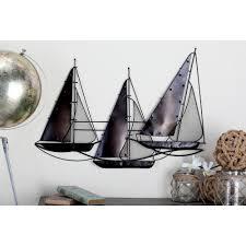 litton lane nautical tin rust brown sailing boat wall decor