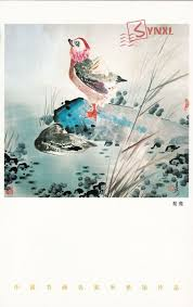 chinese artist mi jingyang 米景扬 animal painting postcard mandarin duck