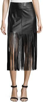 vakko faux leather fringe skirt black 99 last call by neiman marcus lookastic com