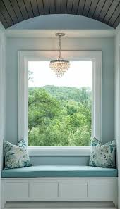 blue window seat nook with barrel ceiling and clarissa crystal drop small round chandelier