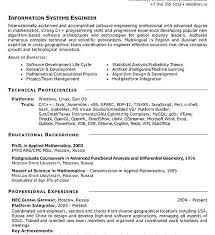 Information Systems Engineer Sample Resume