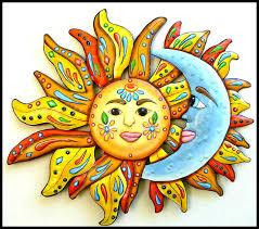 painted metal sun and moon wall art garden decor