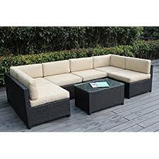 wicker patio furniture. Unique Furniture Ohana Mezzo 7Piece Outdoor Wicker Patio Furniture Sectional Conversation  Set Black With Beige Cushions  No Assembly Free Cover Throughout R