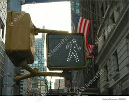 Walking Sign Light Ny Broadway Cross Walk Light With Us Flag In The Back Walking Sign New York