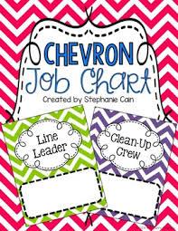 Chevron Classroom Job Chart Editable