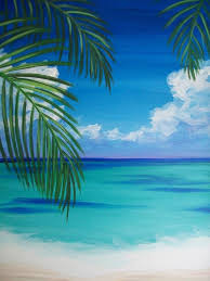 wine design ocean palm trees acrylic painting treeseasy