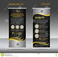 black roll up banner template vector flyer advertisement stock gold and black roll up banner template vector stand flyer pos stock photo