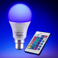 Remote Control Light Bulbs Uk Auraglow 7w Remote Control Colour Changing Led Light Bulb B22