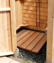 cedar shower outdoor floor bench finish