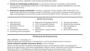 Agile Methodology Testing Resume Software Testing Sample Resume Sample Resume For It Jobs Quality