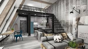 Interior:Grey Color Decor For Concrete Loft Design With Mezzanine Level  Also Grey Sofa Bed