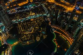 City Lights Video And Photography Dubai Downtown Night Scene With City Lights Top View From Above