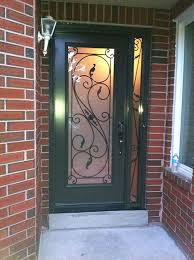 fiberglass doors front entry doors serafina design fiberglass wrought iron single frosted glass door with 2 iron arts side lites installed by front entry