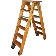 rustic style wooden folding and rolling library ladder design
