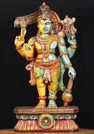 wood hariharan half vishnu statue 24
