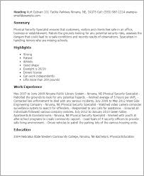 Amazing Physical Security Specialist Resume Ideas - Simple resume .