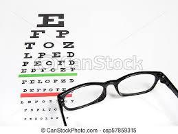 Photography Test Chart Eye Glasses On Eyesight Test Chart Background Close Up