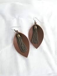 com brown leather earrings metallic tassel free joanna gaines statement earrings leaf medium 2 5 x1 25 hypoallergenic handmade