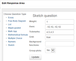 question designer questions maple t a help edit response area for a sketch question