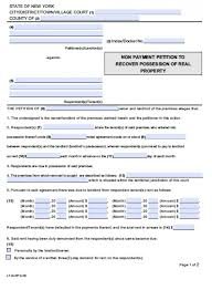 Free New York Nonpayment Of Rent Eviction Form | Petition | Demand ...