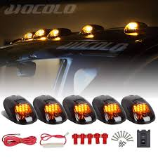 Hocolo 5x 12 Amber Led Cab Marker Lights Roof Top Running Clearance Lights For Ford Dodge Truck Suv Pickup Black Smoked Lens With T10 Amber Light