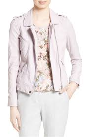 classic rebecca taylor lavender washed leather moto jacket in women