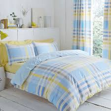 blue yellow check design camden duvet cover set