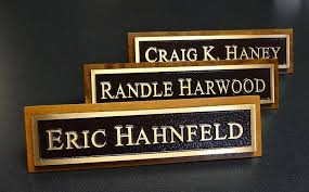 desk and door name plates