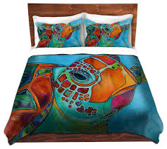 duvet covers microfiber seaglass sea turtle tropical