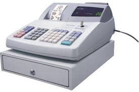sharp cash register. sharp xe-a20s remanufactured cash register, 1200 price look ups, 99 pre-programmed department, 4 compartments bill drawer, 5 coin register