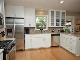 kitchen cabinets glass doors design style: kitchen awesome kitchen cabinet with glass door and metallic with wooden floor