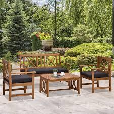outsunny 4 piece acacia wood outdoor