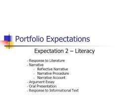 beyond the red pen meaningful feedback purposeful reflection on  portfolio expectations expectation 2 literacy response to literature narrative reflective narrative narrative procedure narrative account
