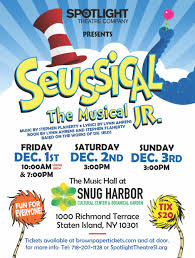 Transporting audiences from the jungle of nool to the circus mcgurkus, the cat in the hat narrates the story of horton the elephant, who discovers a speck of dust containing tiny people called the whos. Spotlight Theatre Company Seussical The Musical Jr Snug Harbor Cultural Center Botanical Garden